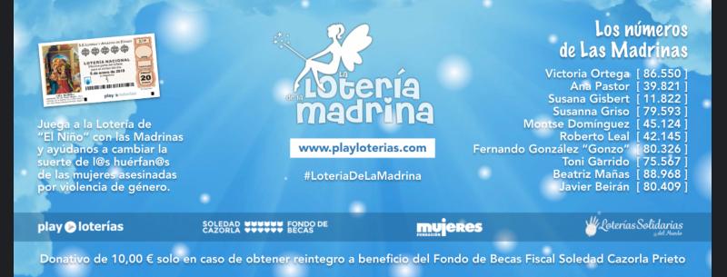 Vuelve la Lotería de la Madrina (sorteo del niño) para cambiar la suerte de los huérfan@s de la violencia de género